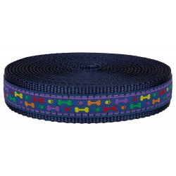 1 Inch Rainbow Paws and Bones Ribbon on Navy Blue Nylon Webbing Closeout