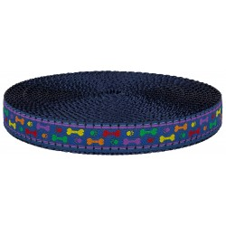 3/4 Inch Rainbow Paws and Bones Ribbon on Navy Blue Nylon Webbing Closeout