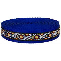 1 Inch Ring a Ding Ribbon on Royal Blue Nylon Webbing Closeout