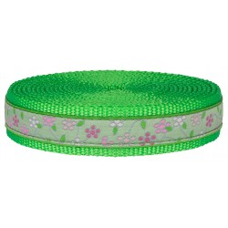 1 Inch Fresh Spring Floral Ribbon on Hot Lime Green Nylon Webbing Closeout