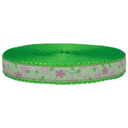 3/4 Inch Fresh Spring Floral Ribbon on Hot Lime Green Nylon Webbing Closeout