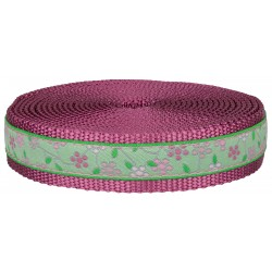 1 Inch Fresh Spring Floral Ribbon on Rose Nylon Webbing Closeout