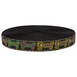 3/4 Inch Stitched Bones Ribbon on Black Nylon Webbing Closeout