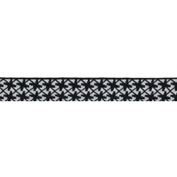 Black and White Pinwheels Jacquard Ribbon Closeout - Various Widths & Lengths Available