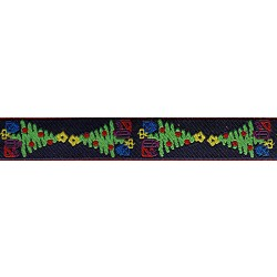5/8 Inch Kissing Christmas Trees Jacquard Ribbon Closeout - Various Lengths Available