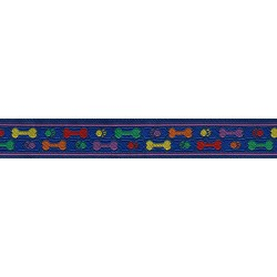 Rainbow Paws and Bones Jacquard Ribbon Closeout - Various Widths & Lengths Available