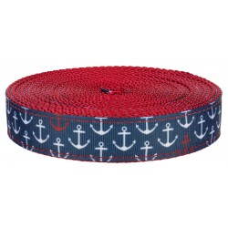3/4 Inch Anchors Away on Red Nylon Webbing