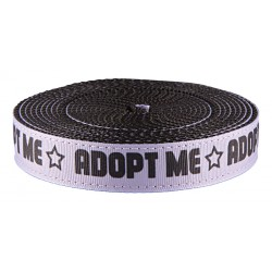 1 Inch Blue Adopt Me Ribbon on Black Nylon Webbing