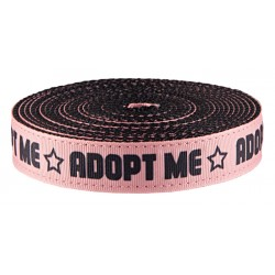 1 Inch Pink Adopt Me Ribbon on Black Nylon Webbing