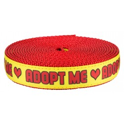 1 Inch Adopt Me Hearts on Red Nylon Webbing - Closeout