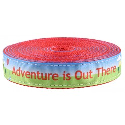 1 Inch Adventure is Out There Ribbon on Red Nylon Webbing Closeout, 1 Yard