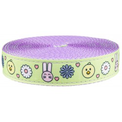 1 Inch Bunnies and Chicks Ribbon on Lavender Nylon Webbing Closeout, 1 Yard