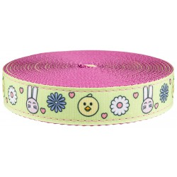 1 Inch Bunnies and Chicks Ribbon on Rose Nylon Webbing Closeout, 1 Yard