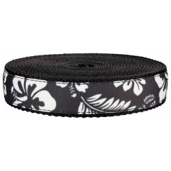 1 Inch Black Hawaiian on Black Nylon Webbing