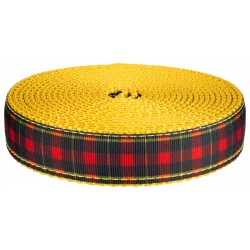 3/4 Inch Black And Red Plaid on Gold Nylon Webbing