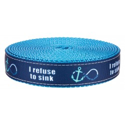 3/4 Inch Blue Refuse to Sink on Ice Blue Nylon Webbing Closeout, 5 Yards