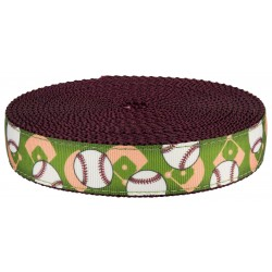 1 Inch Baseball on Burgundy Nylon Webbing