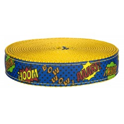 1 Inch Blue Super Dog on Gold Nylon Webbing