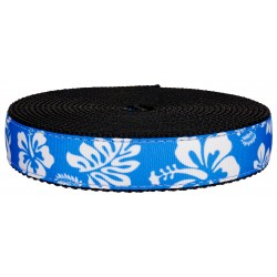 1 Inch Blue Hawaiian on Black Nylon Webbing