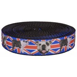 1 Inch English Bulldog Union Jack Ribbon on Black Nylon Webbing