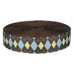 1 Inch Country Club Argyle Ribbon on Brown Nylon Webbing