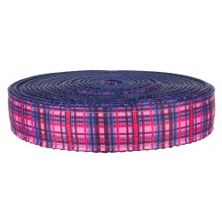 3/4 Inch Cotton Candy Plaid on Navy Blue Nylon Webbing