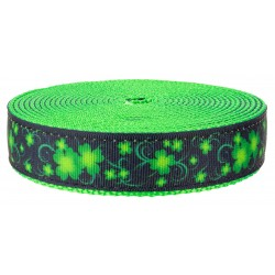 3/4 Inch Clovers in the Wind on Hot Lime Green Nylon Webbing