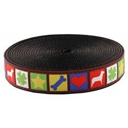 1 Inch Dog Blocks Ribbon on Black Nylon Webbing
