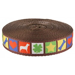Country Brook Design® 1 Inch Dog Blocks Ribbon on Brown Nylon Webbing
