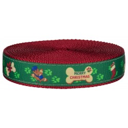 1 Inch Doggy Christmas on Red Nylon Webbing