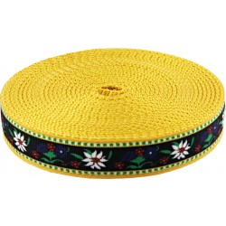 3/4 Inch Edelweiss Ribbon on Gold Nylon Webbing