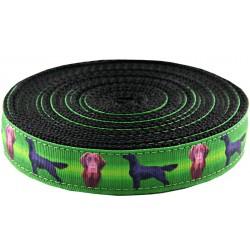 1 Inch Flat Coated Retriever Ribbon on Black Nylon Webbing