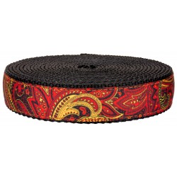 3/4 Inch Fire Paisley on Black Nylon Webbing