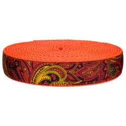 3/4 Inch Fire Paisley on Neon Orange Nylon Webbing