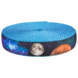 3/4 Inch Galactic Neighbors on Ice Blue Nylon Webbing