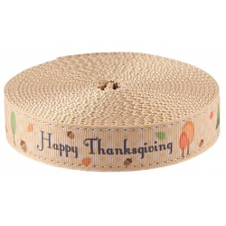 1 Inch Happy Thanksgiving Ribbon on Copper Gold Nylon Webbing Closeout, 5 Yards