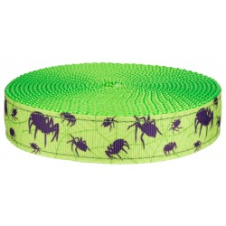 3/4 Inch Itsy Bitsy Spider Ribbon on Hot Lime Green Nylon Webbing Closeout, 1 Yard