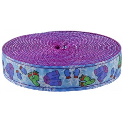 1 Inch It's Cold Outside Ribbon on Purple Nylon Webbing Closeout, 1 Yard