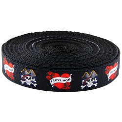 1 Inch I Love Mom Ribbon on Black Nylon Webbing