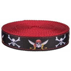 1 Inch Jolly Roger Ribbon on Red Nylon Webbing