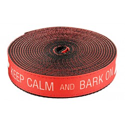3/4 Inch Keep Calm and Bark On Ribbon on Black Nylon Webbing Closeout, 1 Yard