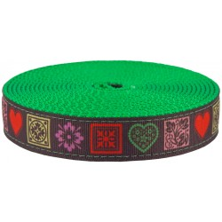 1 Inch Love Accents Ribbon on Green Apple Nylon Webbing
