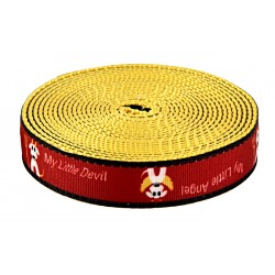 3/4 Inch My Little Devil/Angel Ribbon on Gold Nylon Webbing Closeout, 50 Yards