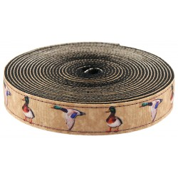 1 Inch Mallard Ribbon on Black Nylon Webbing