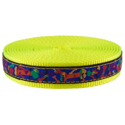 1 Inch Multi-Colored Bones Ribbon on Hot Yellow Nylon Webbing Closeout
