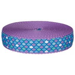 1 Inch Mermaid Scales Ribbon on Lavender Nylon Webbing