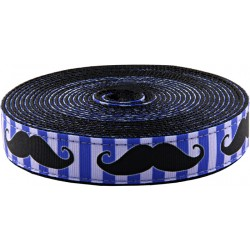 1 Inch Moustache Ribbon on Black Nylon Webbing