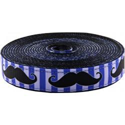 3/4 Inch Moustache Ribbon on Black Nylon Webbing