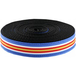 3/4 Inch Nautical Stripes Ribbon on Black Nylon Webbing Closeout, 1 Yard