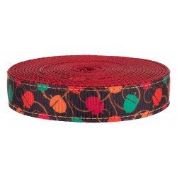 3/4 Inch Going Nuts on Red Nylon Webbing Closeout, 5 Yards